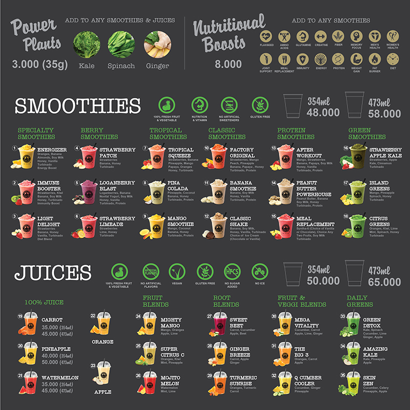 smoothie factory, menu, delivery